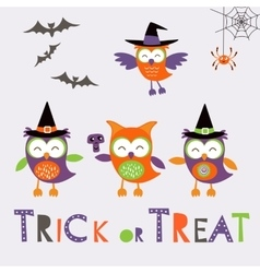 Trick or treat car with cute owl characters vector