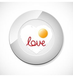 Fried egg with ketchup word love vector