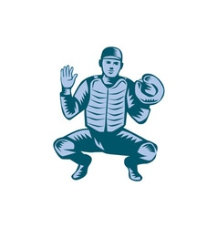 Baseball Catcher Gloves Woodcut vector image