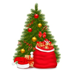 christmas tree and santa bag with gifts vector image