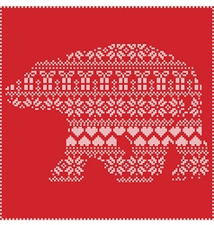 Winter pattern polar bear shape on red background vector