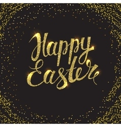 Easter card with glitter vector
