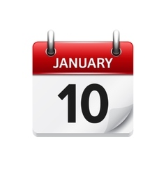 January 10 flat daily calendar icon date vector