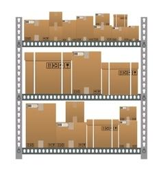 Metallic shelves with cartoon brown boxes vector image