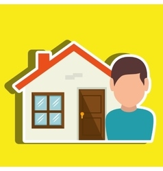 Homeowner outside design vector