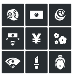 Set of Japan Icons Sport National Flag vector image