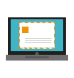 Laptop with envelope vector