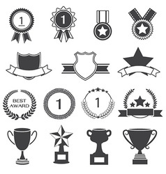 Set of awards prizes and trophy designs vector