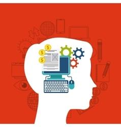 Internet media icon and human head design vector