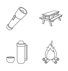 A flashlight a table with a bench a thermos with vector