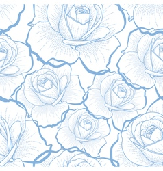 Blue outline roses on white seamless pattern vector image vector image