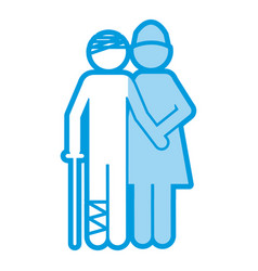 Blue shading silhouette pictogram nurse with vector