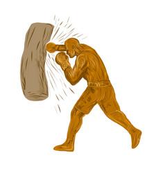 Boxer-punching-bag-dwg vector