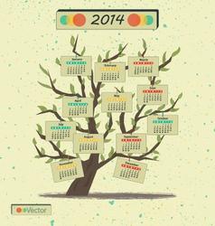 Calendar 2014 Tree vector image vector image