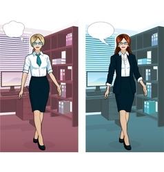 Caucasian Businesswoman in office interior vector image vector image