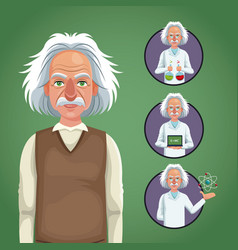 Character scientist physical icons circle vector