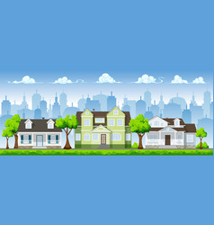 cityscape with three classic houses vector image vector image