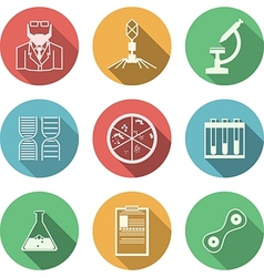 Colored icons for bacteriology vector image