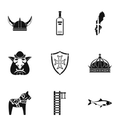 Country of vikings icons set simple style vector