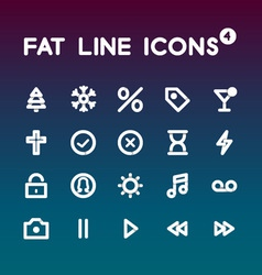 Fat line icons set 4 vector