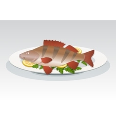 Fish icon Perch on white plate with lemon and vector image vector image