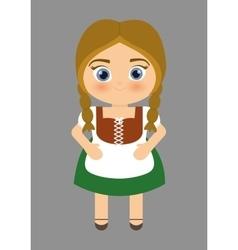 Girl cartoon costume traditional icon germany vector