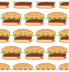 hamburger seamless pattern vector image