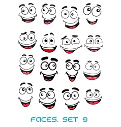 Happiness and smiling people faces vector image vector image