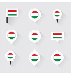 Hungary flag and pins for infographic and map vector