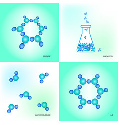 Laboratory equipment and water molecules vector