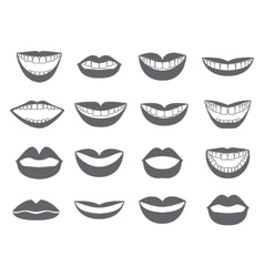 Lips icon Set of silhouettes lips- vector image vector image