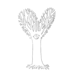 Magic tree two little birds in the hollow vector