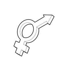 Male and female symbols icon outline style vector image