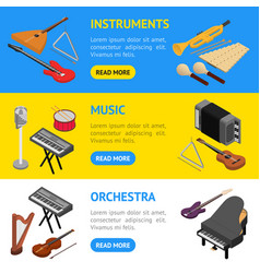 music instruments banner horizontal set isometric vector image vector image