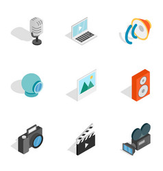 Music photo and video equipment icons vector