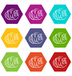 omg comic text speech bubble icon set color vector image vector image