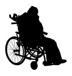 One handicapped man in wheelchair silhouette vector image