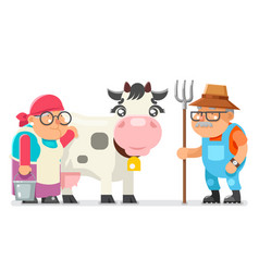 Peasant milkmaid farmer granny grandfather adult vector