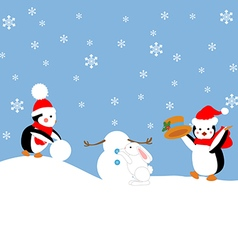 Penguins build a snowman vector image