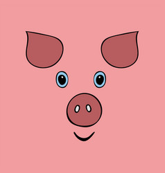 pig cute funny cartoon head vector image
