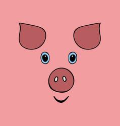 Pig cute funny cartoon head vector