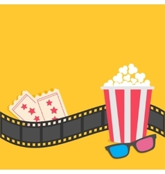 Popcorn film strip border 3d glasses tickets vector