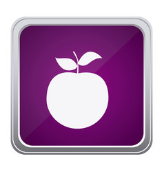 Purple emblem apple fruit icon vector