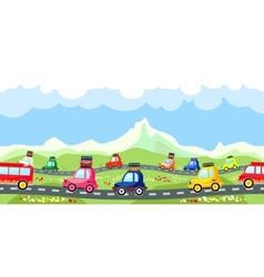 Rural road with a line of tourist traffic vector image