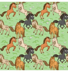 Seamless pattern of cute horse vector image