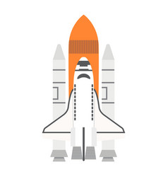 space shuttle flat icon transport and space vector image