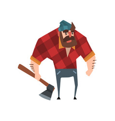 Strong bearded woodcutter character with axe in vector