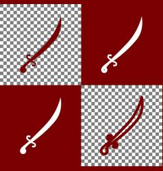 Sword sign bordo and white vector
