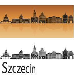 szczecin skyline vector image vector image