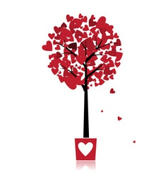 Tree of love in pot for your design vector image vector image